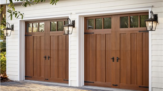 brown wood garage doors