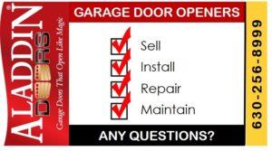 garage door opener sales, installations, repairs, and maintenance graphic
