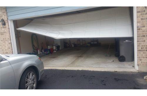 broken garage door for replacement