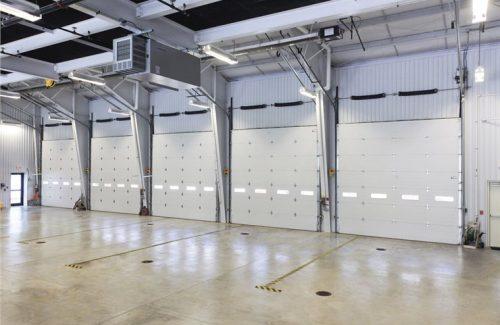 white commercial garage doors