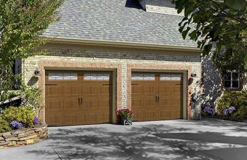 wooden garage door model with windows