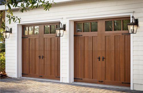 modern wooden garage door and accessories