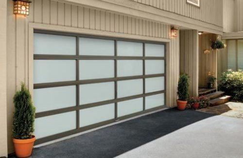 brown and white garage door