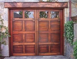 red wooden garage door