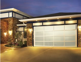 glass modern style garage door