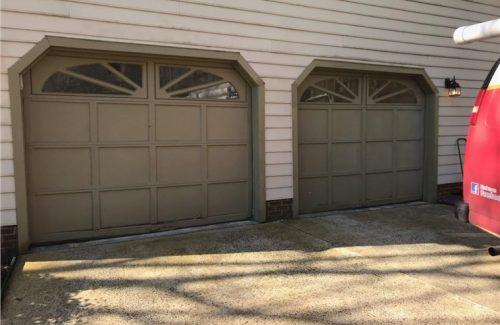 brown wooden garage doors