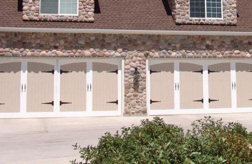 quad garage door, beige, white and black