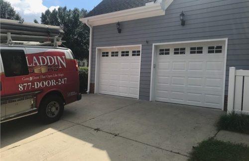 white garage door installation