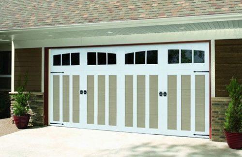 tan and white garage door