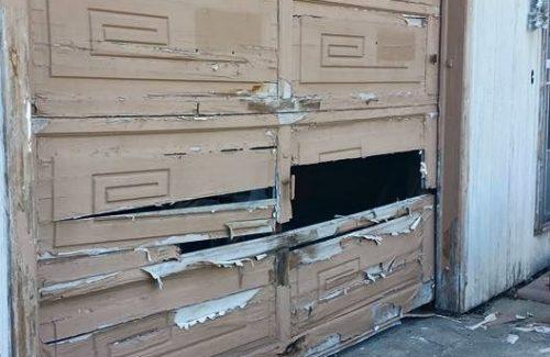 busted garage door