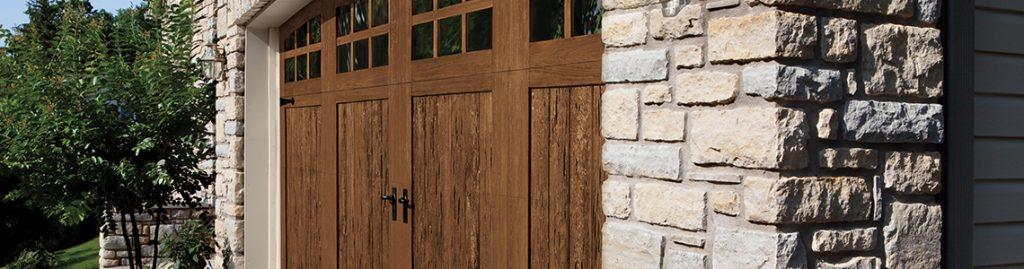 brown wooden residential garage door