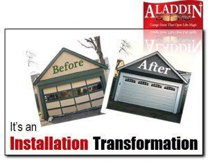 before and after garage door installation
