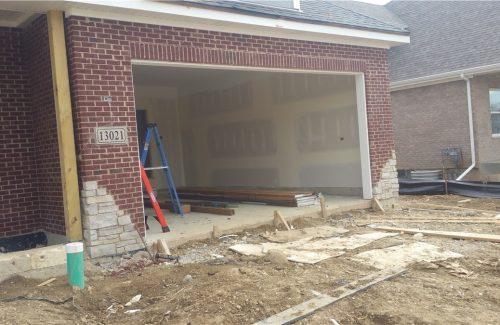 constructing driveway and garage door