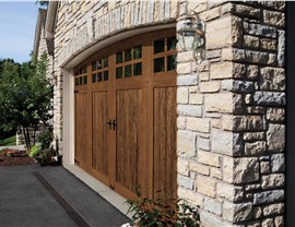 brown wooden residential garage door