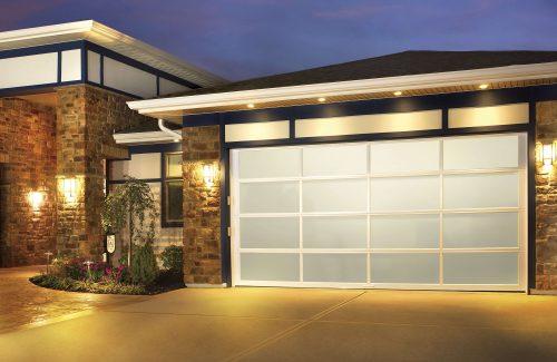 white garage door lit up at night