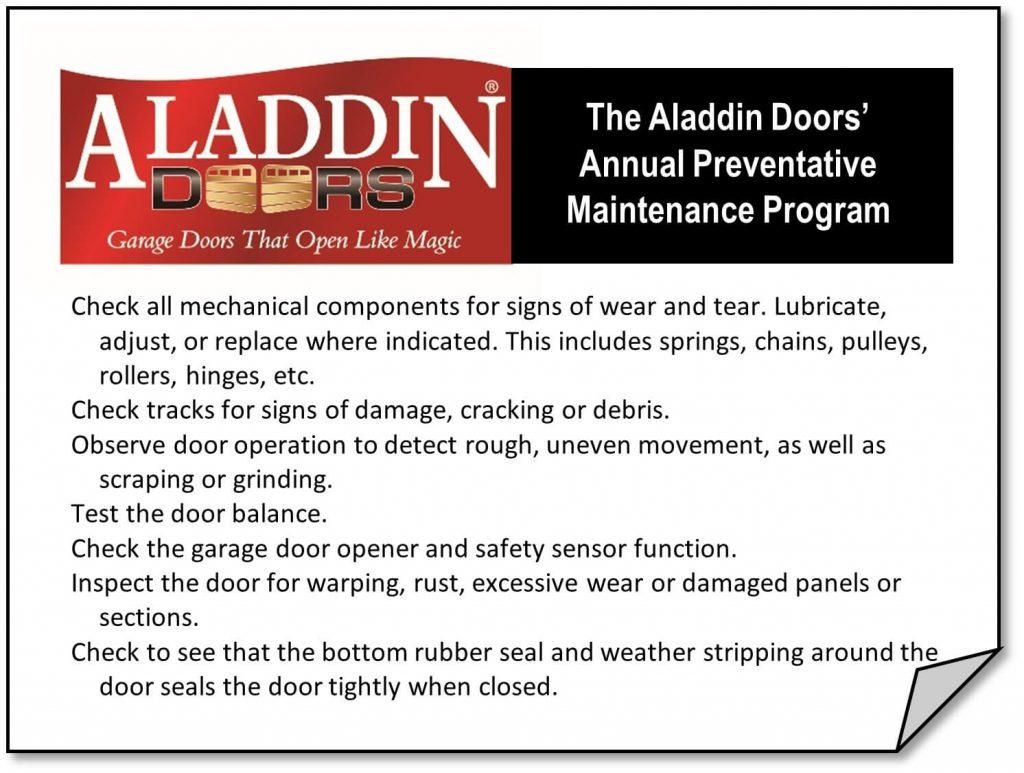 Annual preventative garage door maintenance program