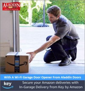Wi-fi garage door opener monitoring package delivery